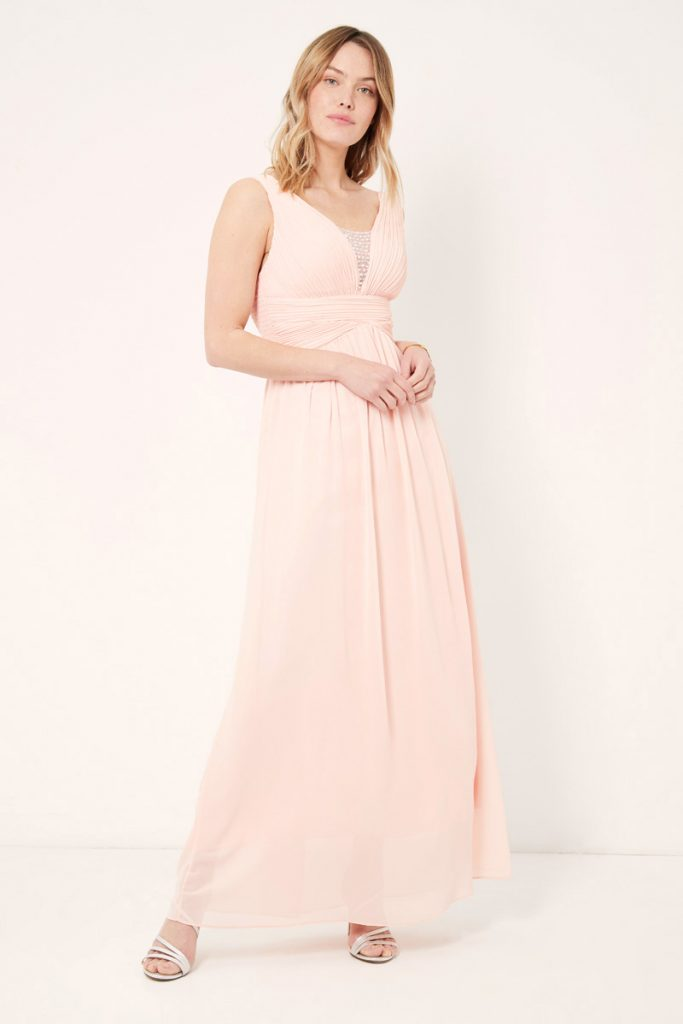 weddingIRL robe longue plissée strass