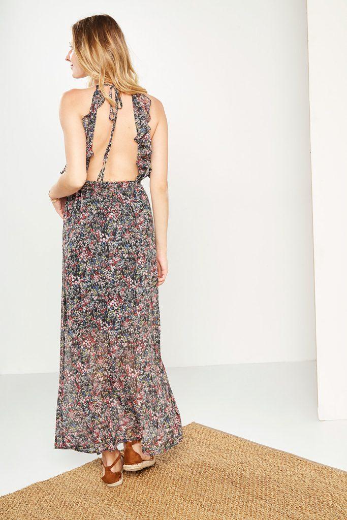 collectionIRL robe longue fleurie dos-nu