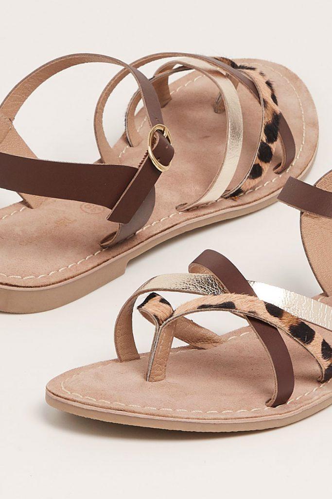 collectionIRL sandales en cuir fines brides croisées