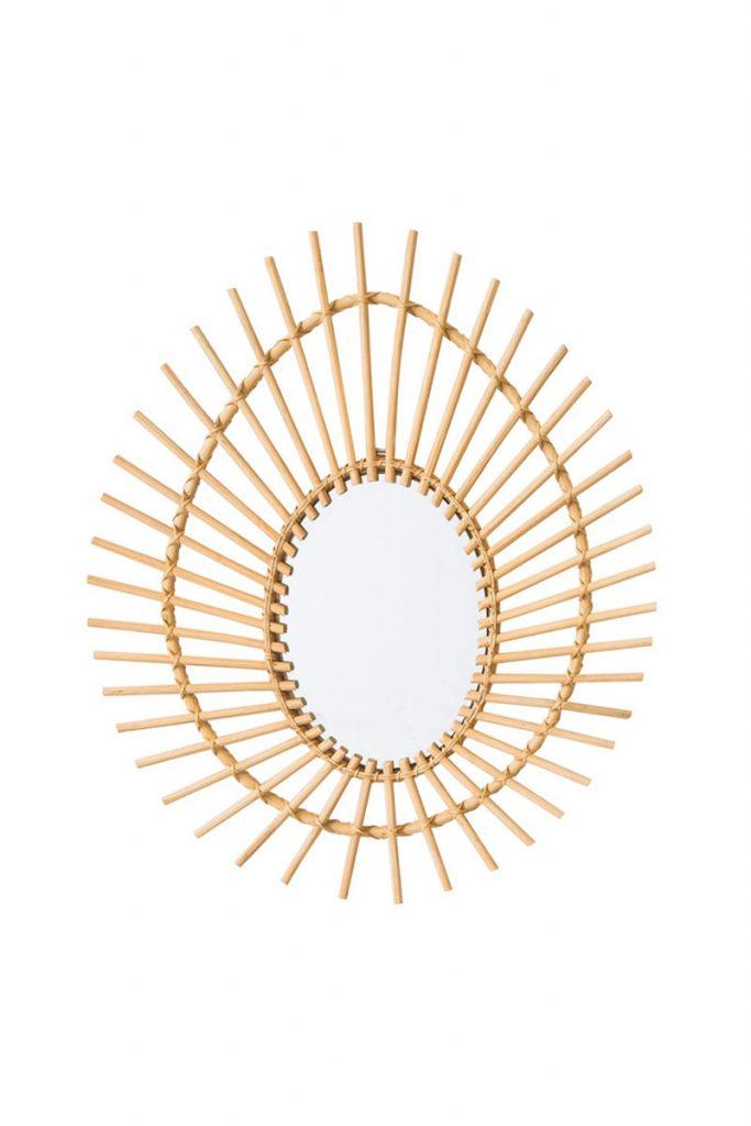 Alizéa miroir en rotin