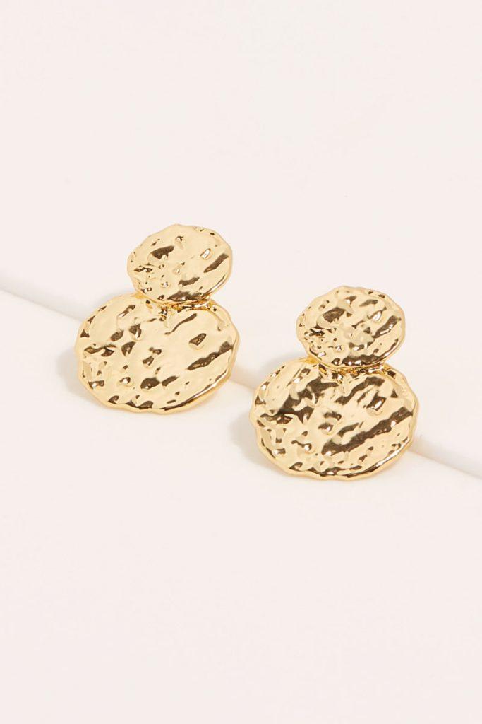 collectionIRL boucles d'oreilles martelées dorées en or fin