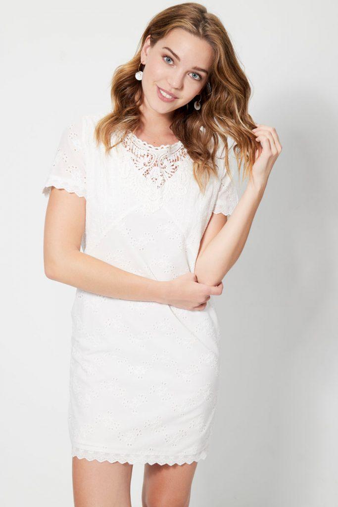 collectionIRL robe droite broderie anglaise
