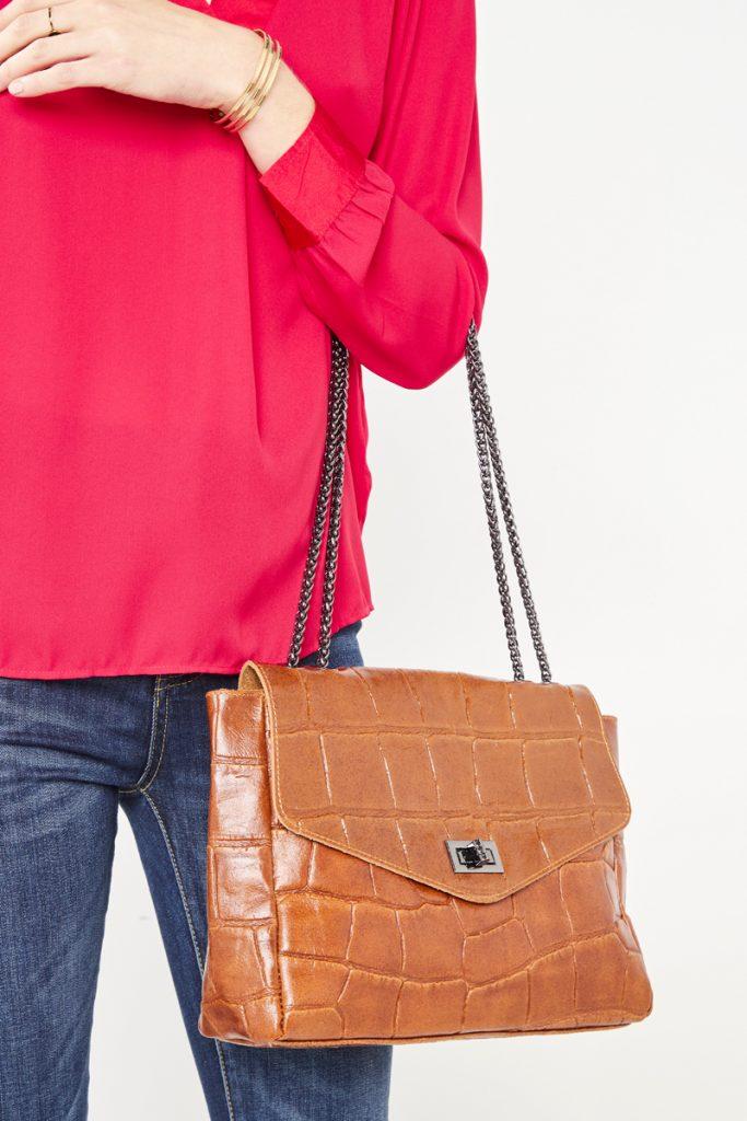 collectionIRL sac bandoulière effet croco en cuir
