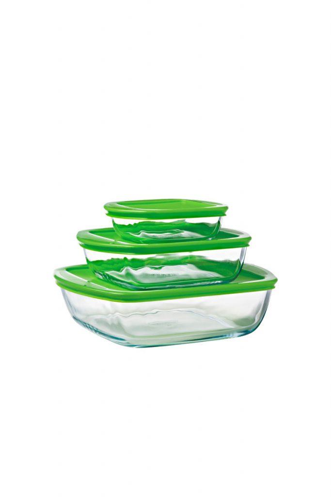 Pyrex 3 plats rectangulaires en verre borosilicate