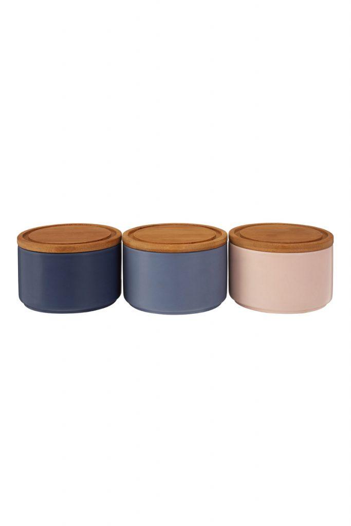 Univers Cuisine 3 pots de conservation avec couvercle en bambou
