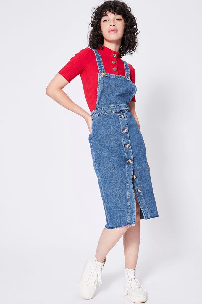 Bershka robe salopette en jean