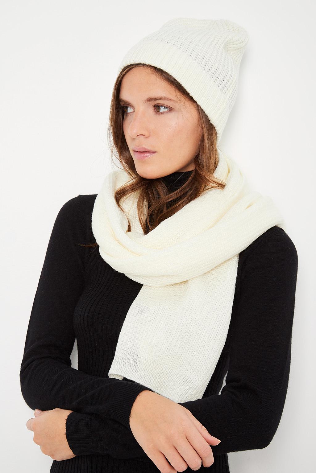 Echarpe et bonnet en cachemire et mohair blanc