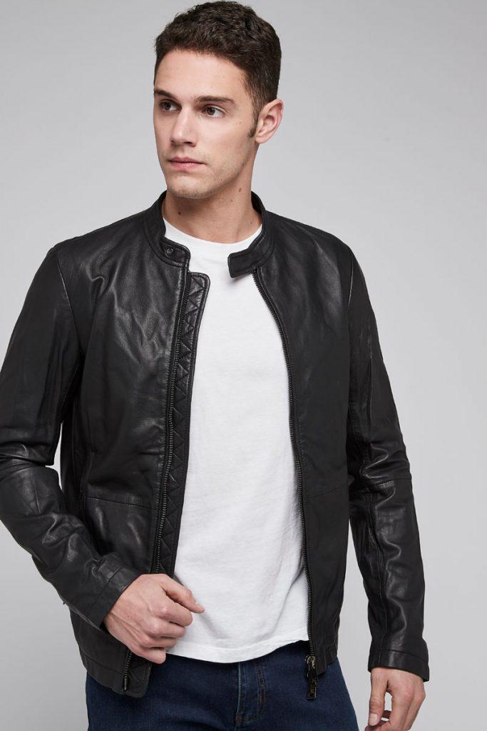 Armani Jeans veste en cuir d'agneau