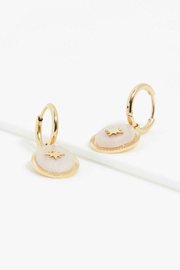 collectionIRL boucles oreilles dorées quartz