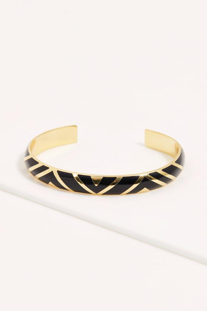 collectionIRL jonc ouvert à motifs chevrons dorée à l'or fin