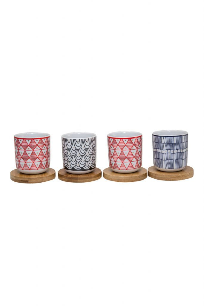 Aulica 4 tasses à café en porcelaine avec supports en bambou