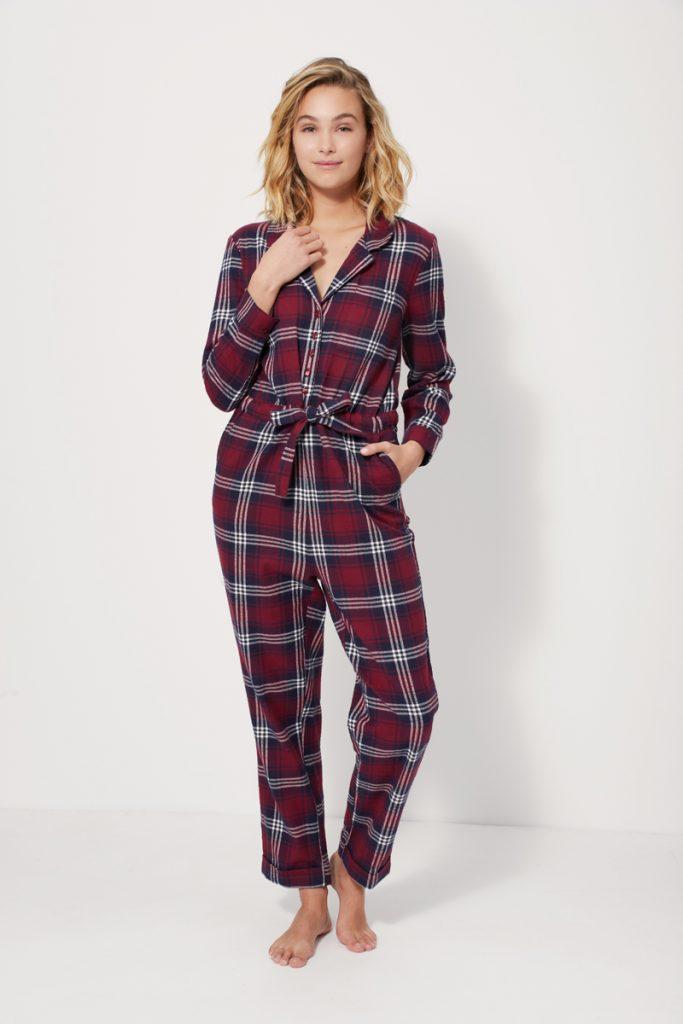 Combinaison de pyjama à carreaux