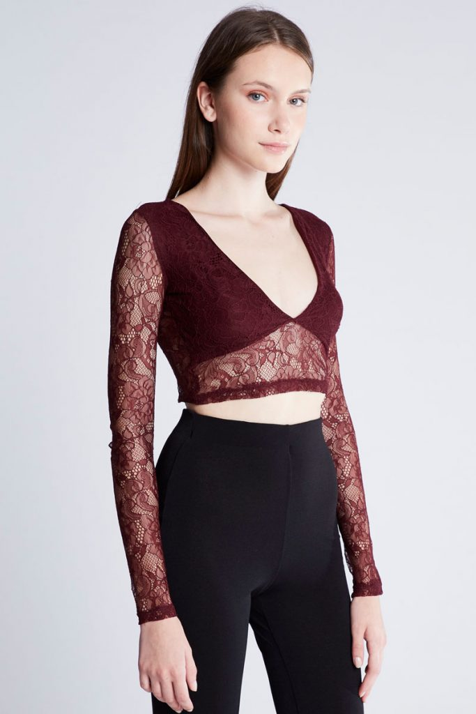Pull & Bear top court en dentelle