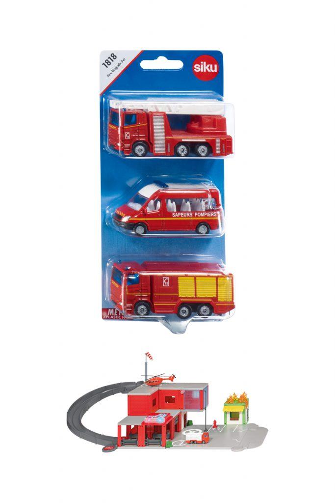 Siki coffret 3 véhicules pompiers et caserne de pompiers