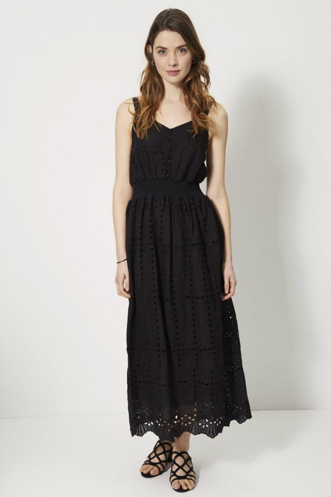 collectionIRL robe longue smockée ajourée