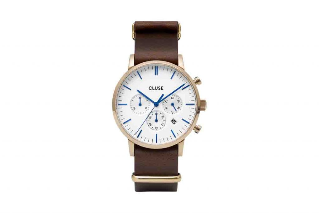 Cluse montre à quartz en cuir