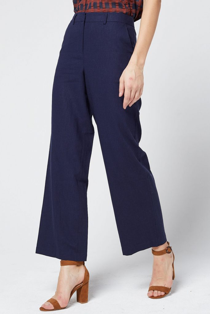 Etam pantalon wide legs en lin taille haute