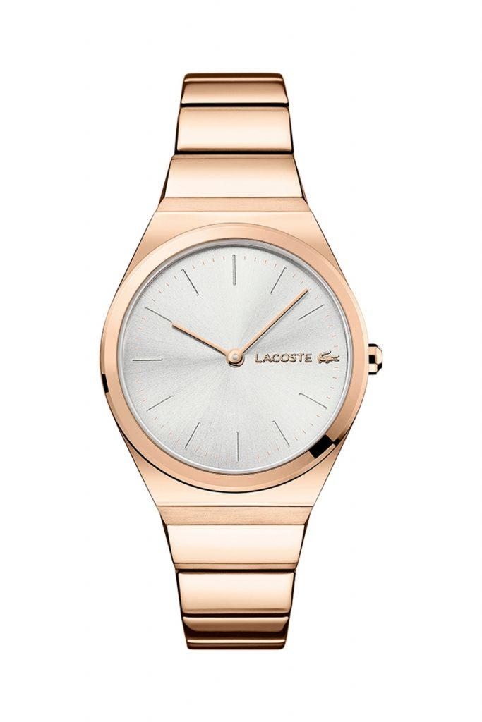 Lacoste montre quartz plaqué or rose