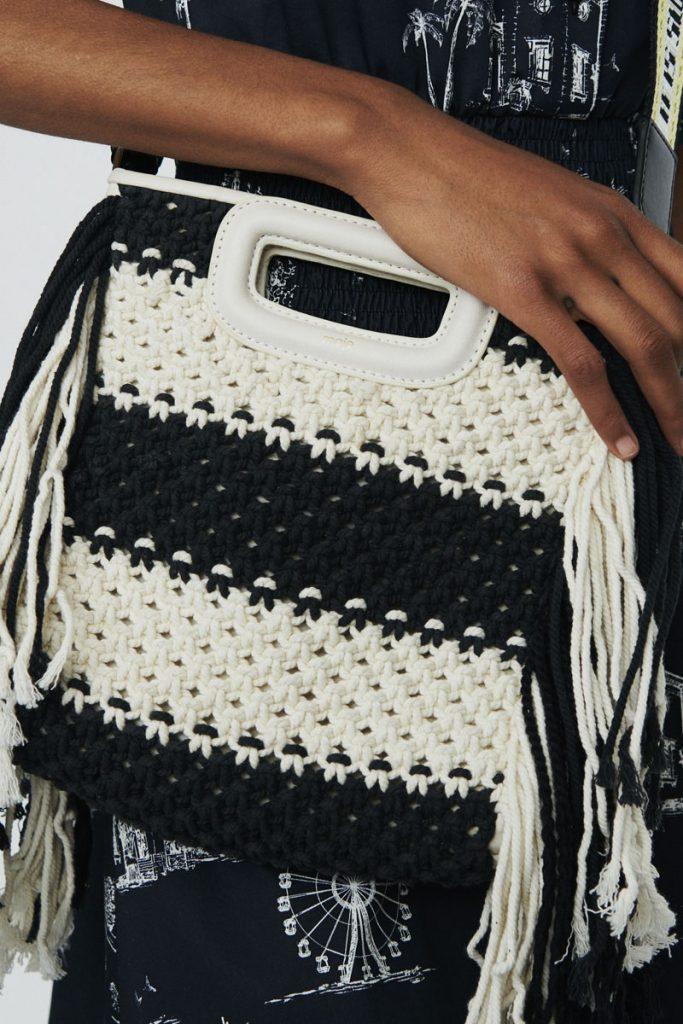 Maje sac bandoulière en maille et cuir de mouton