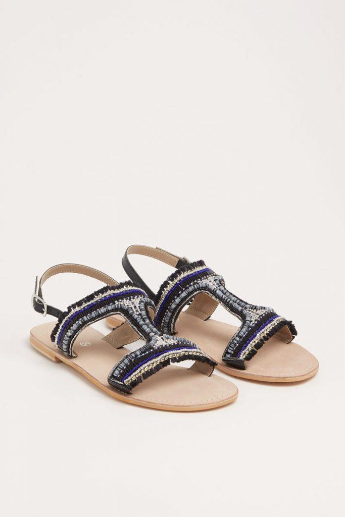 collectionIRL sandales en cuir perles