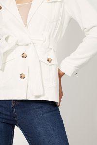 collectionIRL veste boutonnée ceinture en lin