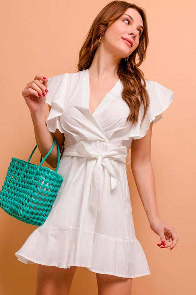 collectionIRL robe courte manches volantées